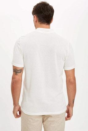 Defacto Erkek Bej Polo Yaka Kısa Kollu Regular Fit T-Shirt 4