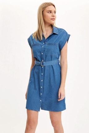 Defacto Kadın Mavi Kemer Detaylı Slim Fit Jean Elbise R0364AZ.20SM.NM28 0