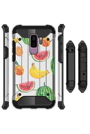 cupcase Samsung Galaxy A6 Plus 2018 Kılıf Desenli Sert Korumalı Zırh Tank Kapak - Çizim Meyveler 0