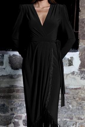 PELIA Püsküllü Siyah Kruvaze Elbise 1
