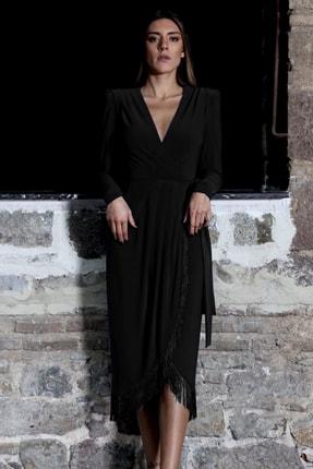 PELIA Püsküllü Siyah Kruvaze Elbise 2