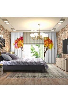 Henge Home Pembe Turuncu Ağaç Sulu Boya Etkili Renkli Fon Perde 2