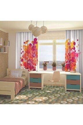 Henge Home Pembe Turuncu Ağaç Sulu Boya Etkili Renkli Fon Perde 3