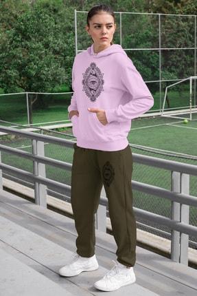 Angemiel Wear Üçgen Motifleri Ay Ve Göz Kadın Eşofman Takımı Pembe Kapşonlu Sweatshirt Yeşil Eşofman Altı 0