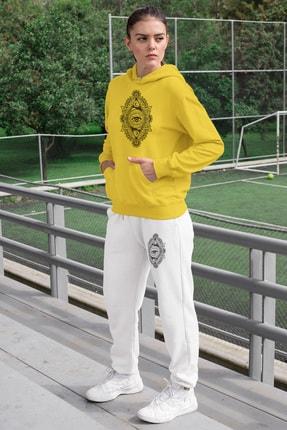 Angemiel Wear Üçgen Motifleri Ay Ve Göz Kadın Eşofman Takımı Sarı Kapşonlu Sweatshirt Beyaz Eşofman Altı 0