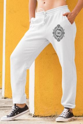 Angemiel Wear Üçgen Motifleri Ay Ve Göz Kadın Eşofman Takımı Sarı Kapşonlu Sweatshirt Beyaz Eşofman Altı 1