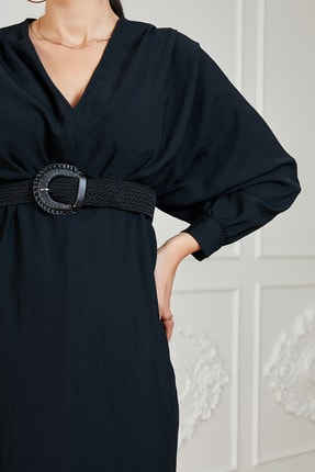 Sateen Kadın Siyah Uzun Kol Kemerli Elbise 2