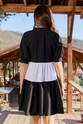 Sateen Kadın Siyah Volanlı Salaş Mini Elbise 3