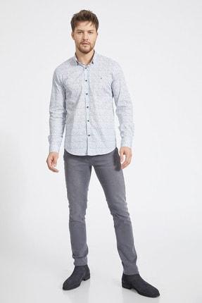Avva Erkek Açık Mavi Baskılı Alttan Britli Yaka Slim Fit Garnili Gömlek A02Y2070 3