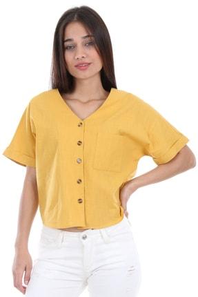 Bigdart Kadın Sarı Tek Cep Düğmeli Kısa Kol Bluz 0358 0