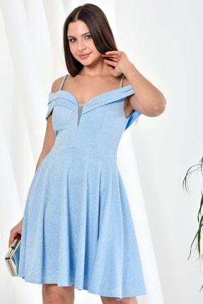 Zenlife Kadın Bebe Mavi Çift Kat Prenses Kollu Evaze Askılı Kısa Elbise 4
