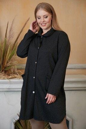 Kadın Siyah Cep Detaylı Büyük Beden Hırka resmi