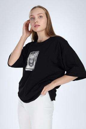 Millionaire Kadın Siyah Yırtmaçlı Kuru Kafa Baskılı Oversize Tshirt 0