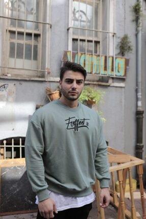 FAST EFFECT WEAR Erkek Haki Önü Nakış Baskılı Oversize Sweatshirt 1