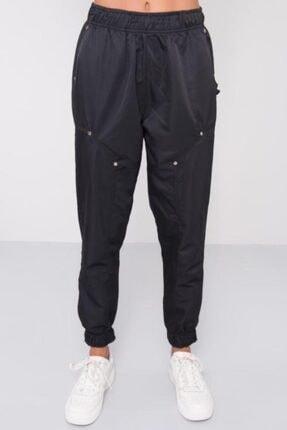 BSL Kadın Siyah Bel Paça Lastik Detaylı Pantolon 4