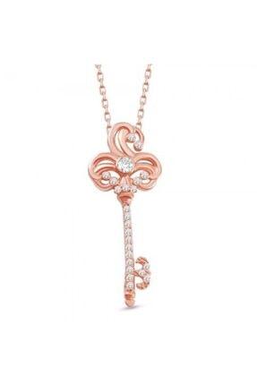 Online Hediye Sepeti Beyaz Zirkon Taşlı Anahtar Tasarım 925 Ayar Gümüş Bayan Kolye 3