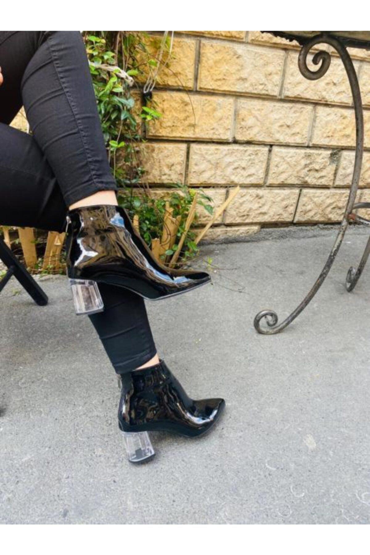 Gazal Shoes Kadın Siyah Şeffaf Topuklu Bot