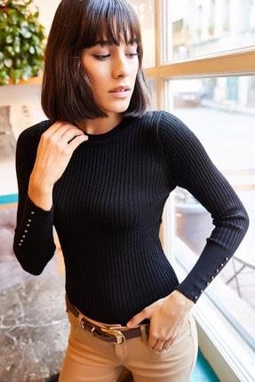 Olalook Kadın Siyah Kolu İncili Triko Bluz BLZ-19001162 3