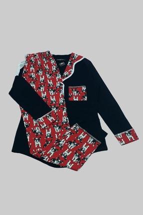 MELEK İÇ GİYİM Kadın Siyah Şal Yaka Köpek Desenli Pijama Takımı 0