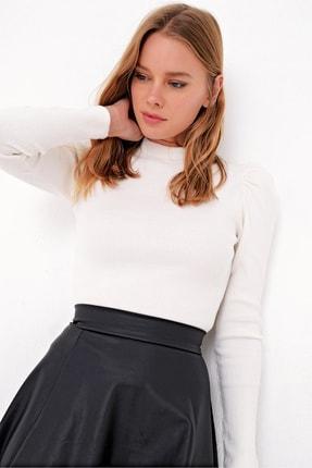 Trend Alaçatı Stili Kadın Ekru Prenses Kol Yarım Balıkçı Şardonlu Crop Bluz ALC-X5042 3