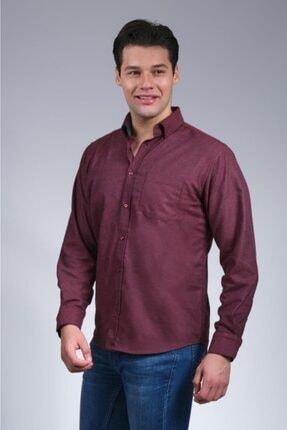 Uztex Erkek Vişne  Balıksırtı Düz Melanjuzun Kol Klasik Fit Gömlek 1