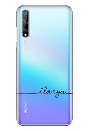 cupcase Huawei Y8p Kılıf Resim Esnek Silikon Kapak I Love U Desen + Temperli Cam 0