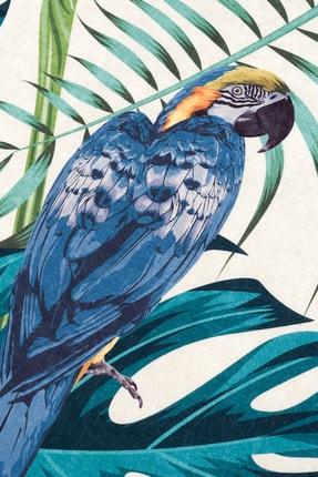 Caretta Home Dijital Baskılı Kaymaz Taban Yıkanabilir Papağan Yaprak Desenli Halı Kilim 2