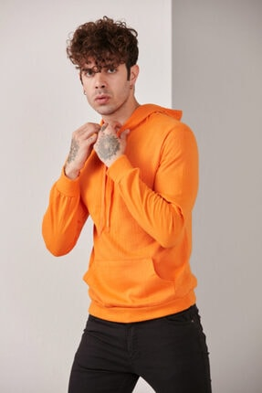 CATSPY Erkek Turuncu Kapüşonlu Sweatshirt 2