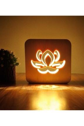 Tablo Art House Ahşap Lamba Masa Lambası Gece Lambası Lotus Çiçeği 0