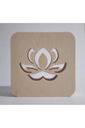 Tablo Art House Ahşap Lamba Masa Lambası Gece Lambası Lotus Çiçeği 1