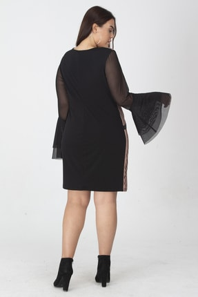 Şans Kadın Siyah Taş Detaylı Kolları Tül Volanlı Elbise 65N19138 1