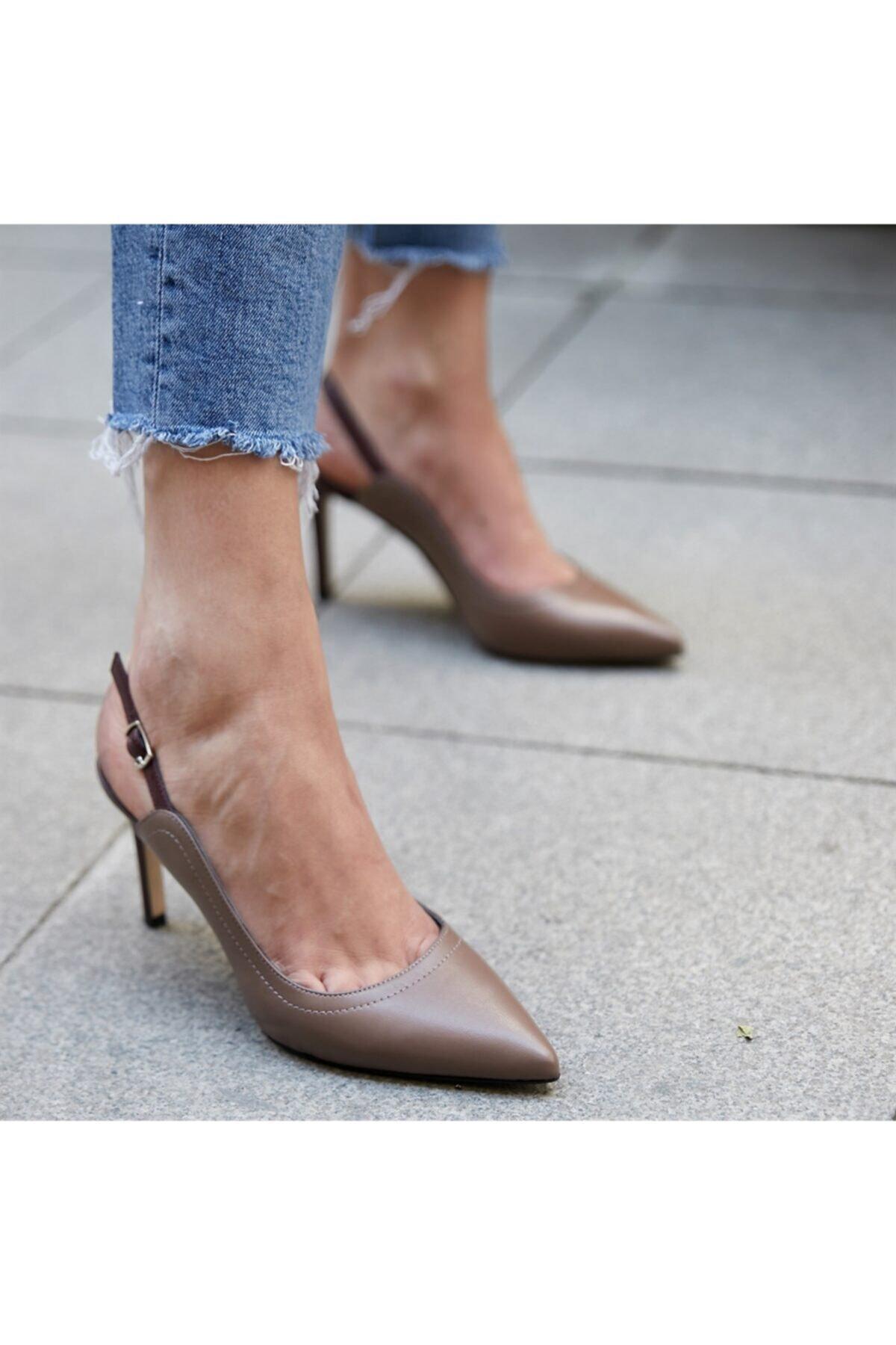BUTİKTOZLU Kadın Vizon Poet Topuklu Ayakkabı