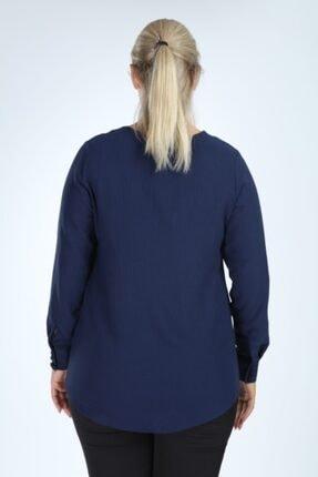 Lir Kadın Lacivert Büyük Beden Uzun Kol Düğmeli Bluz 4