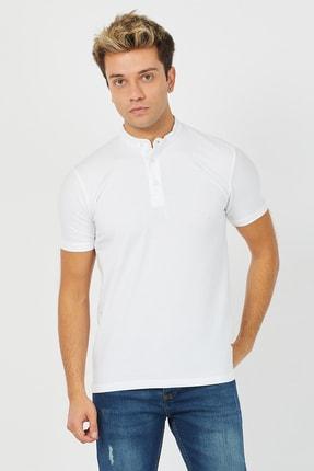 Tarz Cool Erkek Beyaz Hakim Yaka Pamuklu Slim Fit Likralı T-shirt - Ht001r04 0