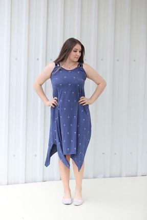 MGS LİFE Kadın, Askılı, Toka Detaylı, Asimetrik Kesim, Kırçıllı Mavi Renkli Büyük Beden Elbise 0
