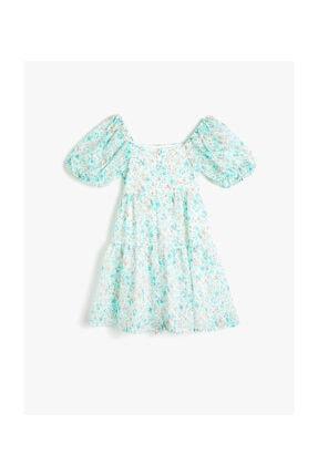 Koton Beyaz Desenli Kız Çocuk Elbise 1