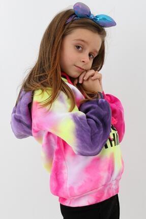 Enisena Mor Kız Cocuk Yıkamalı Kapşonlu Sweatshirt 1