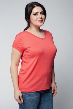 Ebsumu Kadın Mercan Beden V Yaka Basic Kısa Kollu Tişört 3