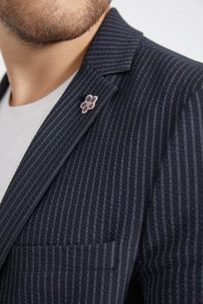 Avva Erkek Lacivert Mono Yaka Seersucker Çizgili Slim Fit Cebi Kapaklı Ceket A02Y4052 2