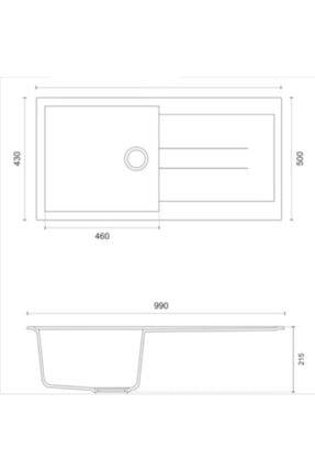 Vıvıano     1 Göz Beyaz 50x99 Cm Xl Küvet Granit Evye + Sifon 2