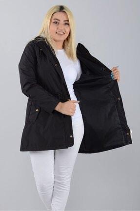 Tuva Tekstil Kadın Siyah Kapüşonlu Astarlı Trençkot 3