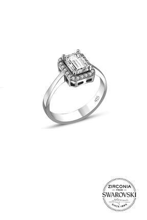 Söğütlü Silver Gümüş Baget Taşlı Pırlanta Modeli Yüzük 0