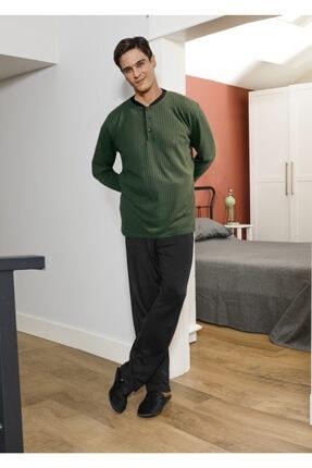 SESİMA Erkek Koyu Yeşil Uzun Kol Mevsimlik Penye Interlok Pijama 0