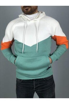 Trendbir Yeşil Beyaz Çizik Kapşonlu Kalın 3 Iplik Sweatshirt Va 0