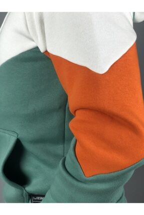 Trendbir Yeşil Beyaz Çizik Kapşonlu Kalın 3 Iplik Sweatshirt Va 1