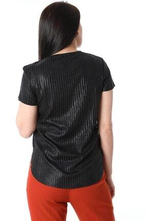 ZİNCiRMODA Kadın Siyah V Yaka Simli Bluz 3
