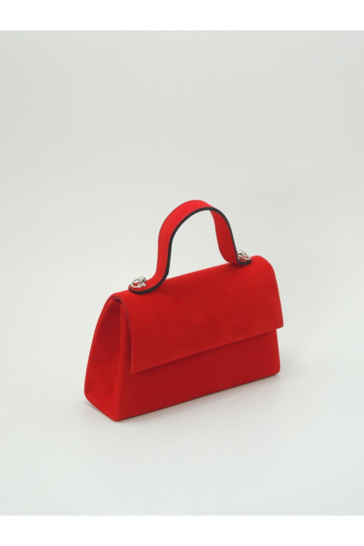 Kadın Kırmızı Süet Çanta