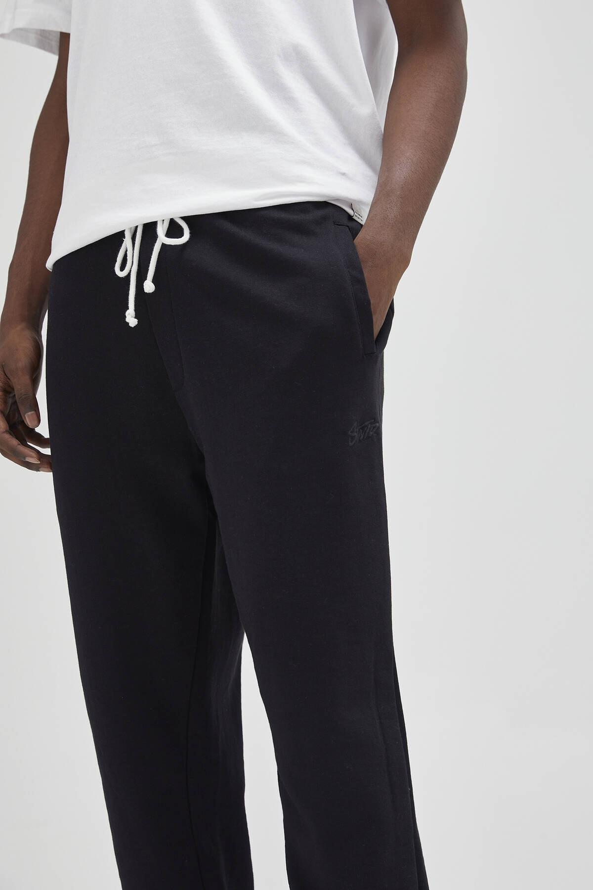 Pull & Bear Erkek Siyah Renkli Jogging Fit Pantolon 04676513 4