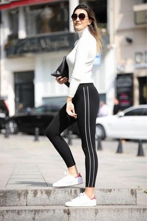 Grenj Fashion Siyah Yanı Beyaz Biyeli Yüksek Bel Toparlayıcı Tayt 1