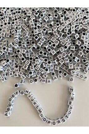 Hedef Bijuteri 6mm Beyaz Fon Üzeri Siyah Küp Harf Boncuk,alfabe Mektup Harf Boncuk ((100gr,~800 Adet) 0